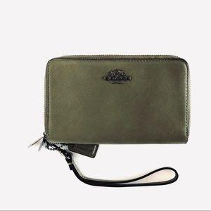 Coach Olive Green Wallet Phone Double Zip Wristlet